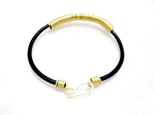Custom Made Brass Coil Choker - Yellow Brass Steampunk Necklace - Leather Choker - Industrial - Simple Choker