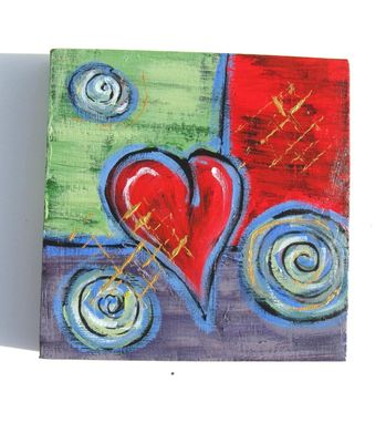 Custom Made Original Acrylic Abstract Heart Painting On Canvas,
