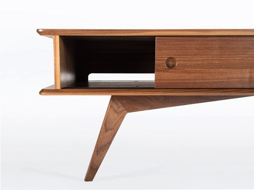 "Custom Made Modern Mid Century Style Tv Stand In Walnut ""Montecito"""