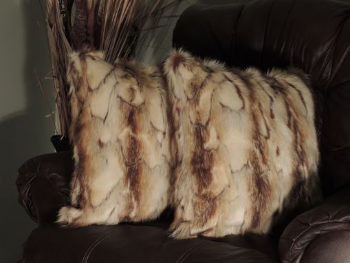 Custom Made Brandy Fox Copper Faux Fur 18 X 18 In. Decorative Pillow - Set Of 2