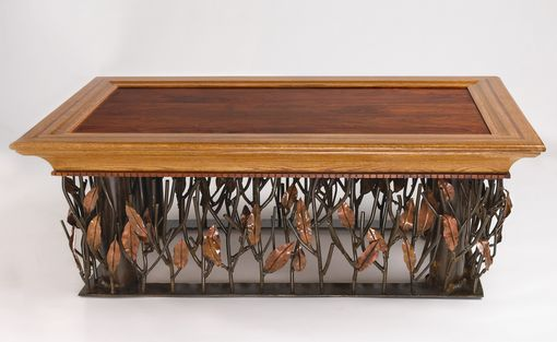 Custom Made Mesquite, Steel And Copper Coffee Table