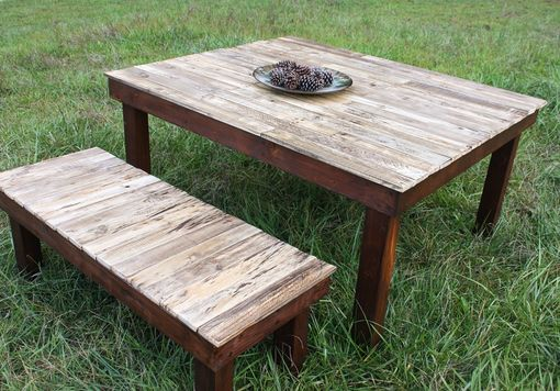 Custom Made Farmhouse Dining Table And Bench
