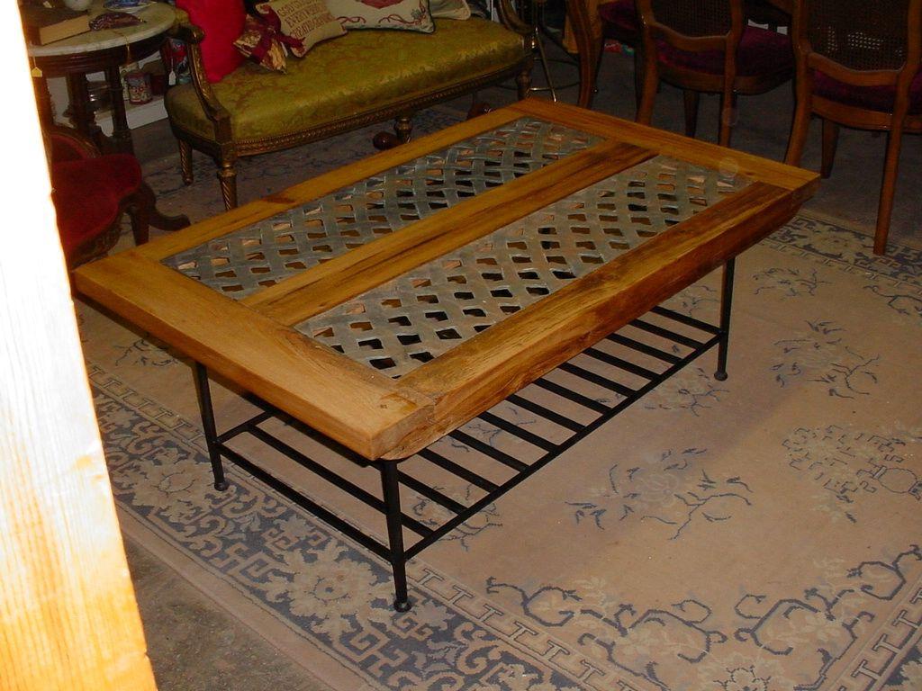 handmade industrial vent grate cypress coffee table on metal base