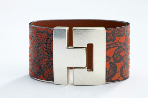 Custom Made Genuine Leather Luxury Bracelet In Floral Red