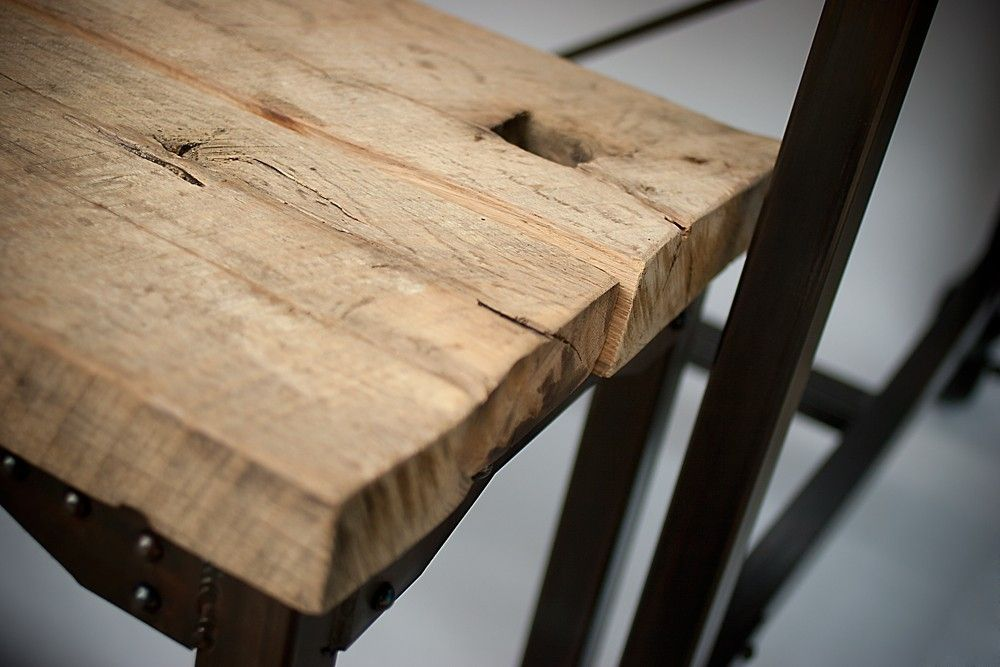 Hand Made Custom Farmhouse Reclaimed Wood   Steel Dining Table  Rustic Kitchen  Table   Bench  Conference Table by Real Industrial Edge Furniture llc. Hand Made Custom Farmhouse Reclaimed Wood   Steel Dining Table