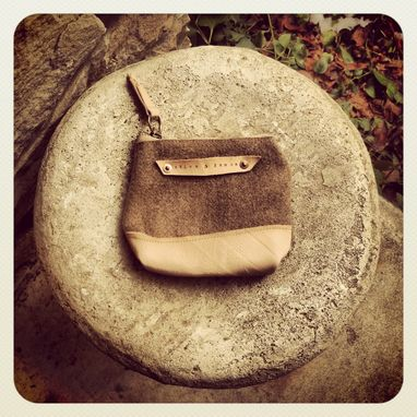 Custom Made Vintage Wool And Organic Leather Pouch // Organic Canvas // Leather // Copper Rivets