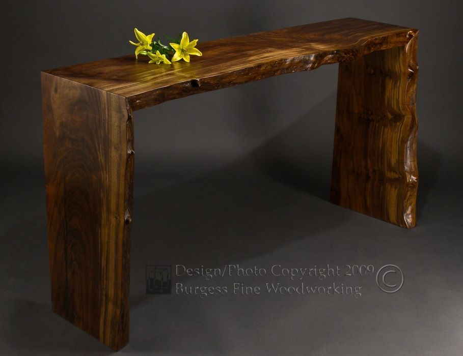 Custom Poured Walnut Sofa Table By Burgess Fine Woodworking