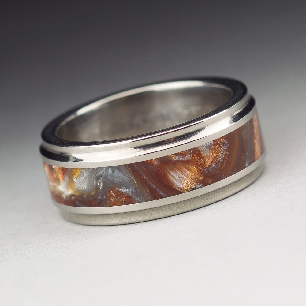 Custom Made Anium Wood Tone Burl Mens Wedding Band Iced Bronze