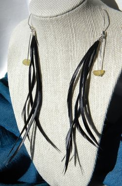 Custom Made Black Feather Earrings With Yellow Sea Glass