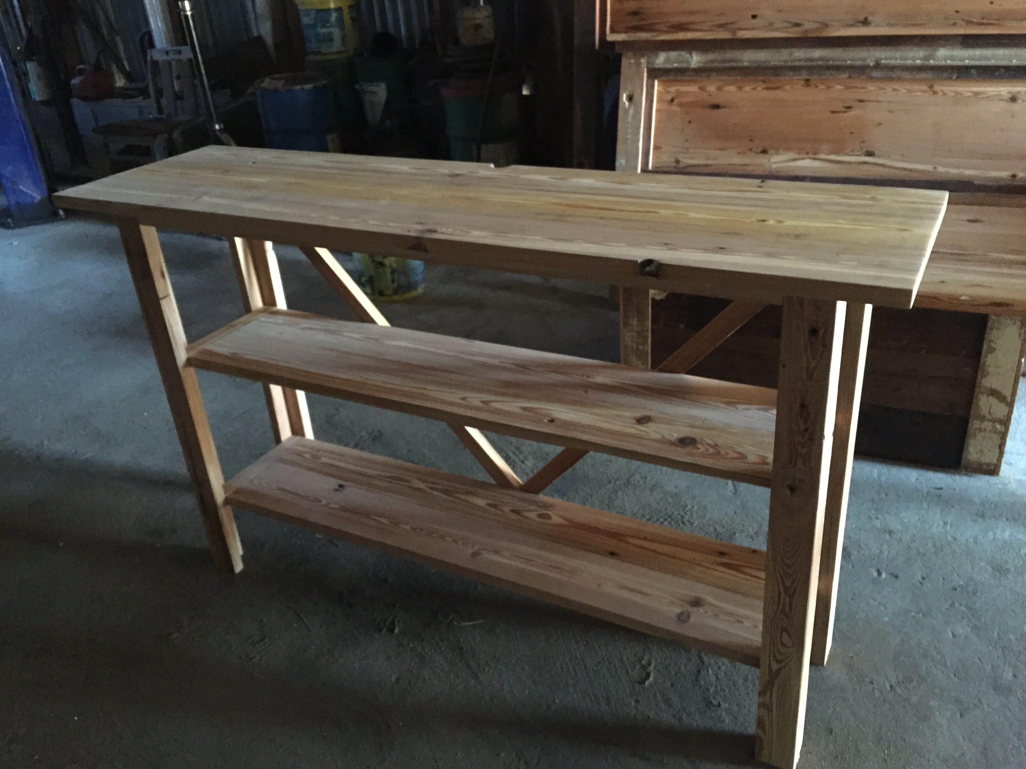 Custom Made Reclaimed Heart Pine Sofa Table
