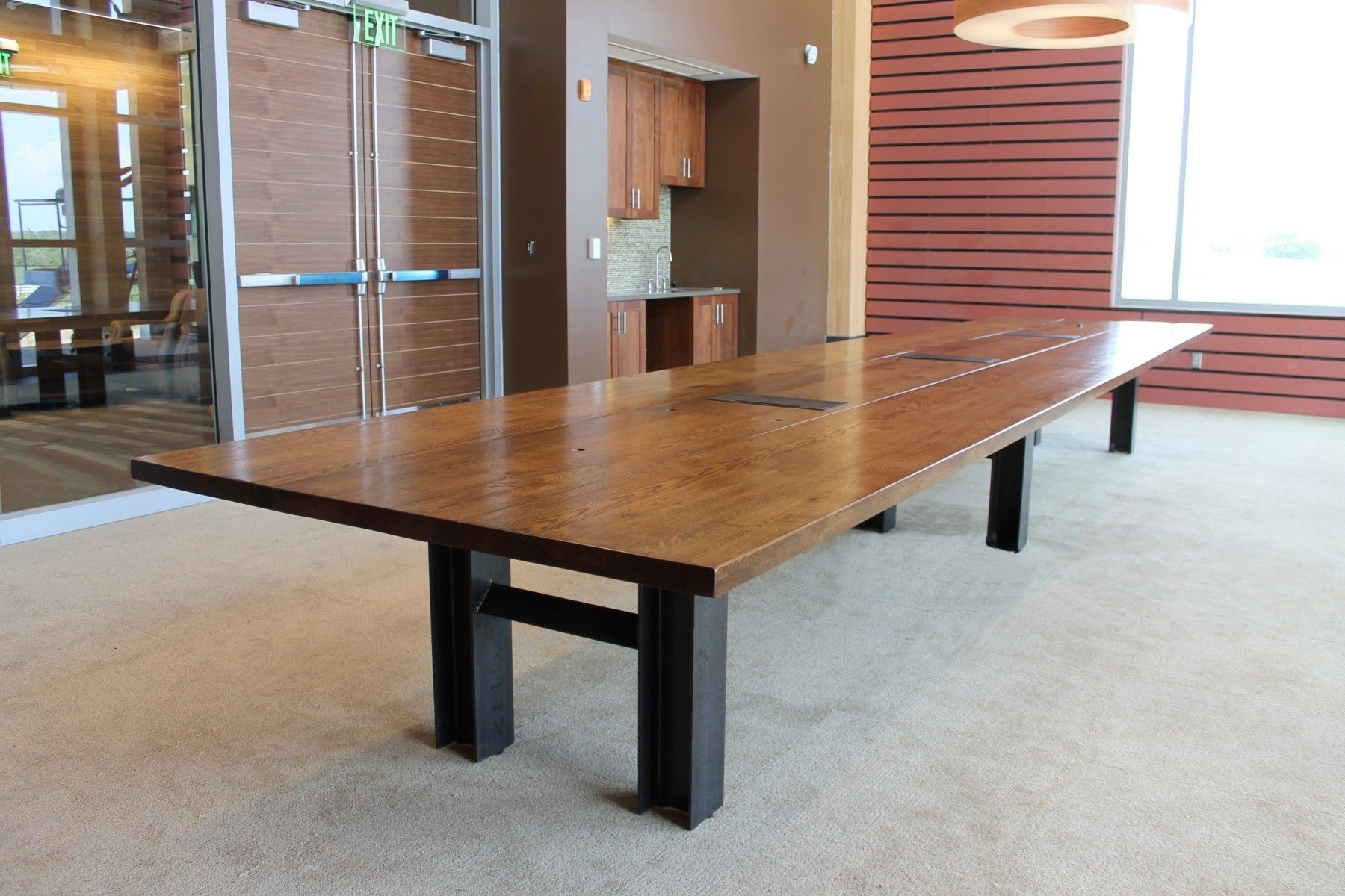 Glass conference table for sale - Reclaimed Oak Custom Conference Table