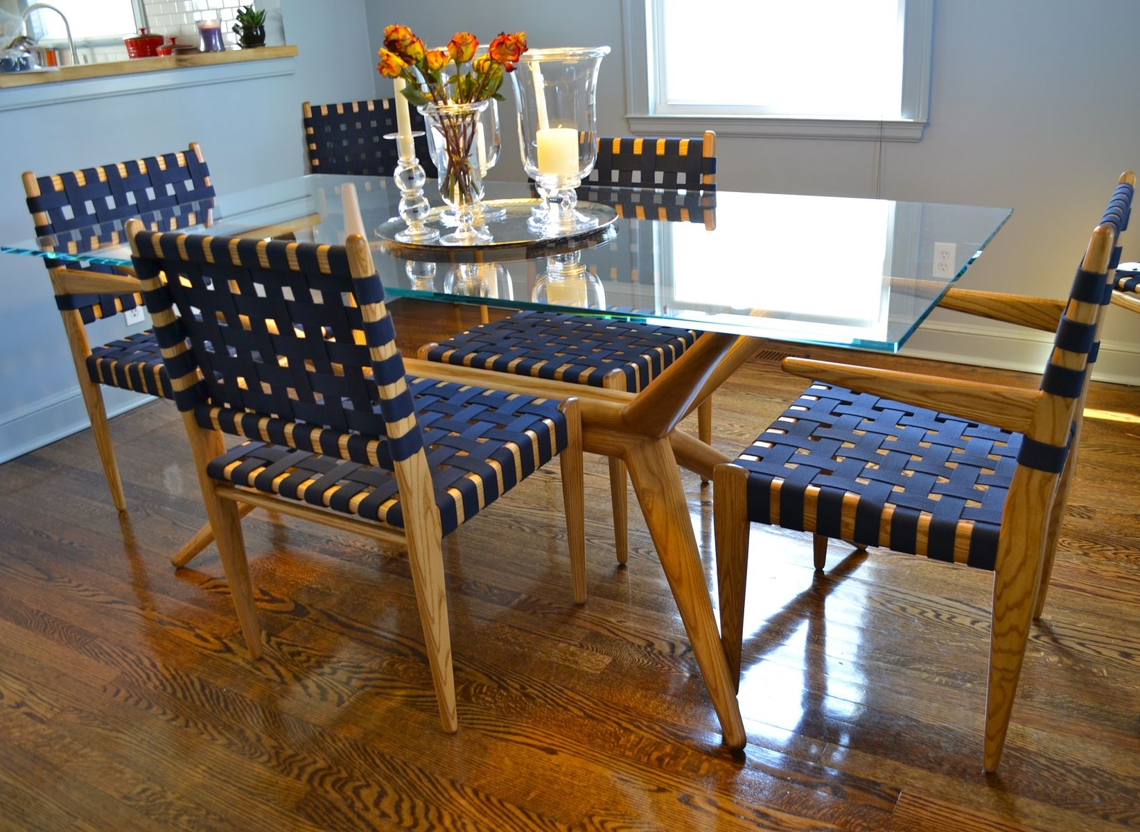 Incredible Custom Dining Room Set Ash Glass And Webbing By White Download Free Architecture Designs Rallybritishbridgeorg