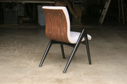"Custom Made Mid Century Modern Dining Chair, Black And Silver, Padded Faux Ostrich Seat ""Grasshopper"""