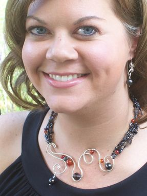 Custom Made Silver Wire And Beaded Bridesmaid Necklace