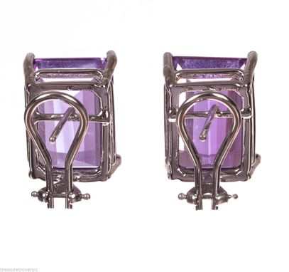 Custom Made Alberto Juan 14 Kt White Gold Emerald Cut Amethyst Earrings