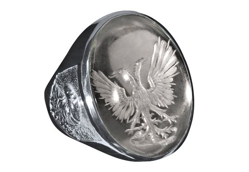 Custom Made Glamorous Hand Engraved Crystal Man's Ring