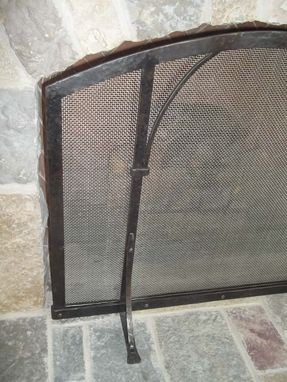 Custom Made Forged Iron Standing Fireplace Screen
