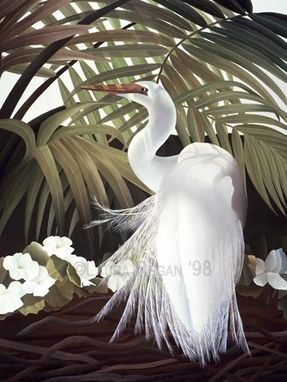 Custom Made Egret  And Palms Original Painting