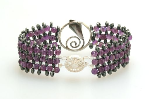Custom Made Hand Woven Amethyst And Hematite Calla Lily Flower Bracelet With Filigree Clasp