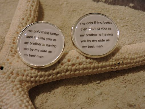 Custom Made Customized Sterling Silver Plated Cufflinks - Family Crest & Wording