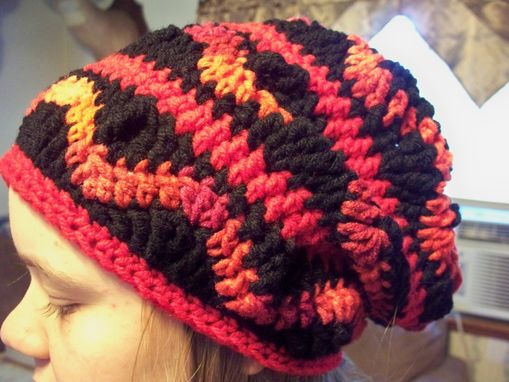 Custom Made 30% Off, End Of Winter Sale, Black And Red Slouchy Wave Crochet Hat