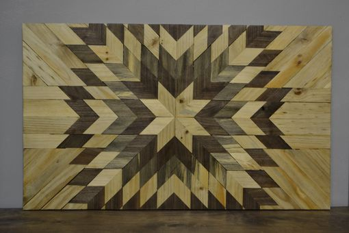 Custom Made Rustic Handmade Starburst Wood Home Decor Abstract Geometric Wall Sculpture