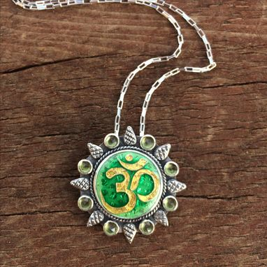 Custom Made Om Symbol Necklace And Pendant, Yoga Statement Necklace, Cloisonne Enamel Jewelry