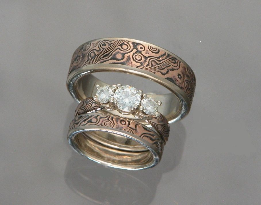 wedding with large diamonds custom mokume engagement set collections wave gane ring ash rings in prong