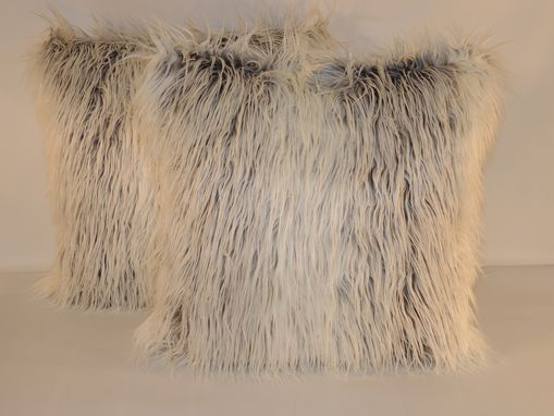 Custom Made Llama Fur Ivory Grey Faux Fur 18 X 18 In. Decorative Pillow - Set Of 2