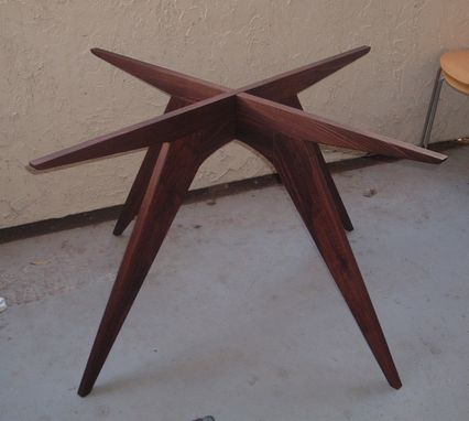 Custom Made Blake's Extended Teepee Walnut Table Base For 60 Inch Glass Top
