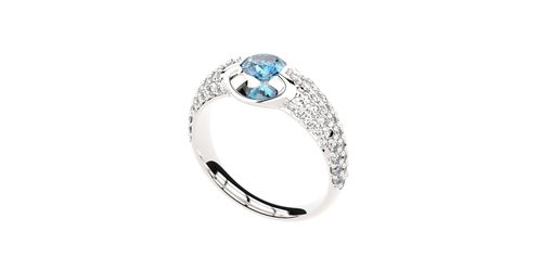 Custom Made 14k White Gold Tension Set Blue Topaz Engagement Ring