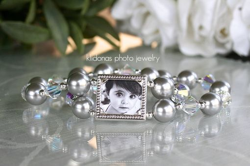 Custom Made Photo Bracelet With Silver Rhinestones And Swarovski Pearls For The Mother Of The Bride