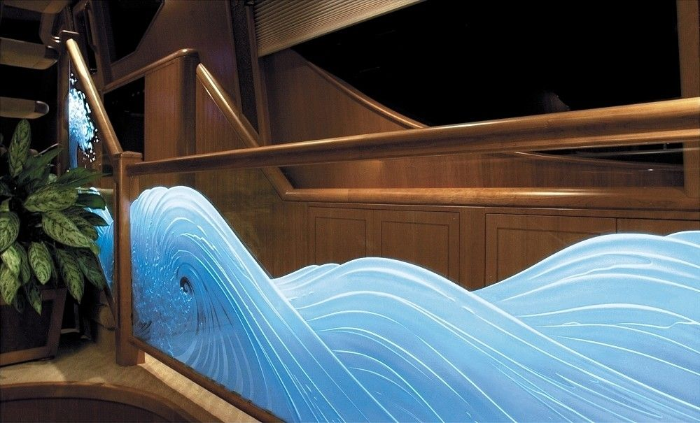Custom Made Illuminated Carved Etched Gl Waves Railing