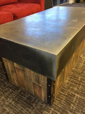 Custom Made #30 Beautiful Zinc Coffee Table With Reclaimed Wood Base
