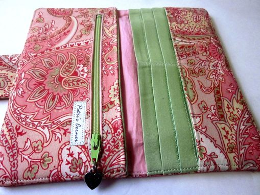 Custom Made Handmade Women Pink Wallet Sweet Fresh Paisley Floral