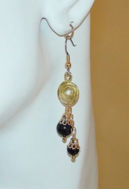 Custom Made Gold Wirework Spirals With Rainbow Obsidian Earrings