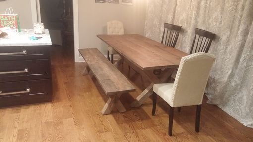 Custom Made X Base Dining Table, Reclaimed Wood Table, X Legs