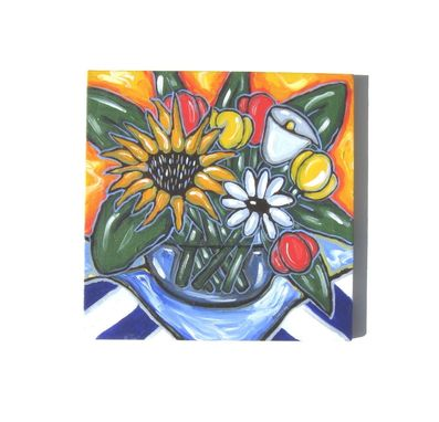 Custom Made Original Acrylic Still Life Painting Sunflower