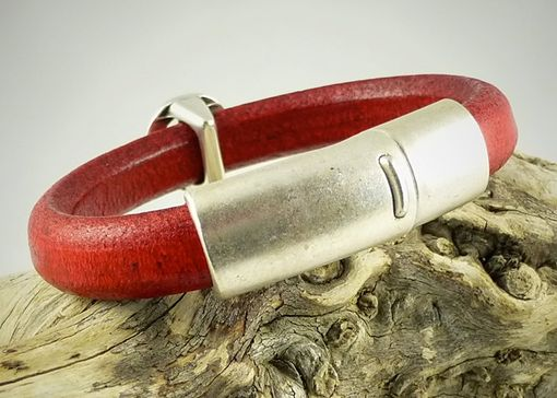 Custom Made Silver Scull Red Licorice Leather Bracelet Distressed Euro Leather And Magnetic Clasp