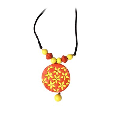Custom Made Orange And Yellow Hand Made Terracotta Floral Pendant