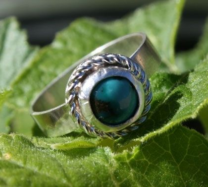 Custom Made Turquoise Rope Ring