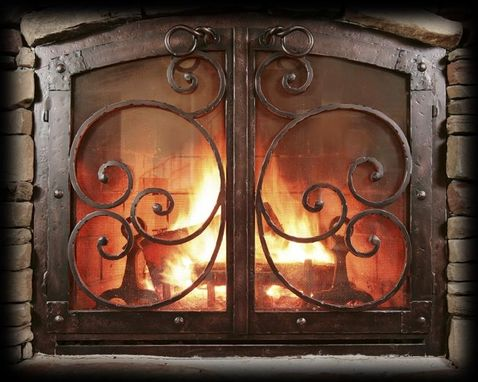 Handmade Custom Fireplace Screen Black Copper
