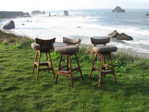 Custom Made Upholstered Black Walnut Stools With Swivel