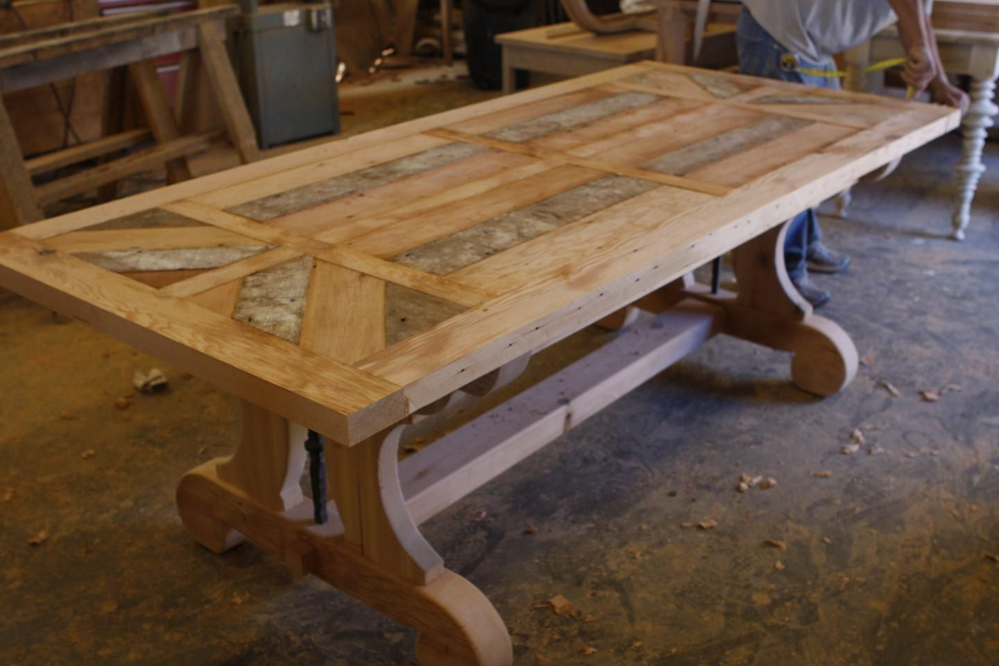 Custom Made Trestle Dining Table With Leaf Extensions Built In Reclaimed Wood