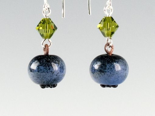 Custom Made Realistic Glass Ripe Blueberry Earrings With Swarovski Elements Crystals