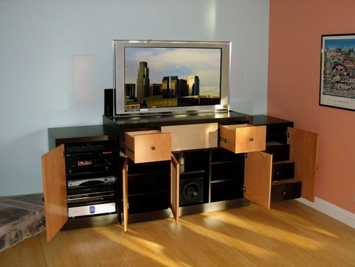 Custom Made Two-Tone Natural Maple Lift Cabinet For Flat Panel Televisions
