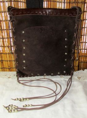 Custom Made Dark Brown Nubuck Leather Bohemian Country Messenger Bag