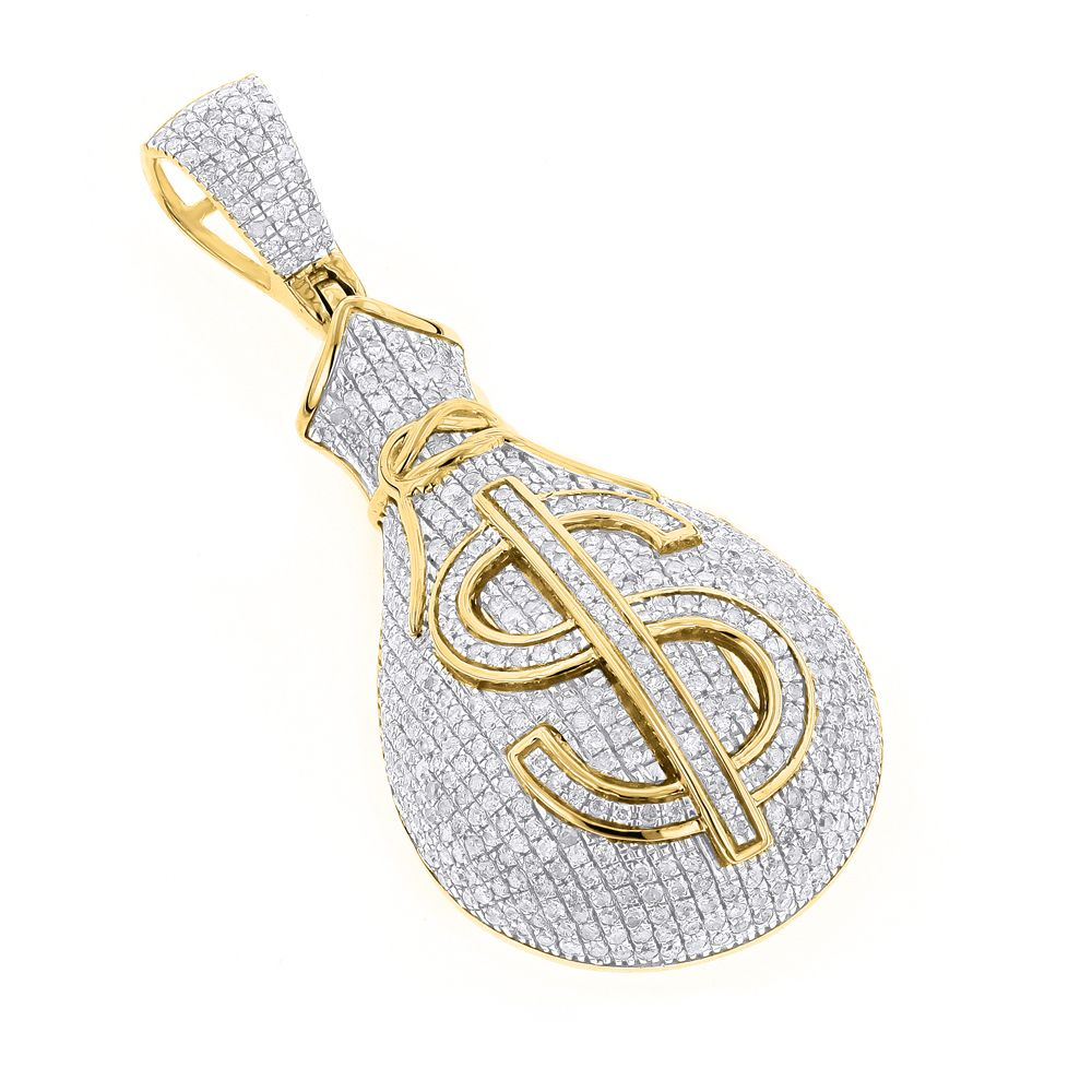 Custom hip hop chains bling pendants custommade gold diamond money bag pendant by itshot jewelry aloadofball Image collections