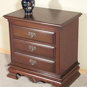 Solid Mahogany 2 Drawer Nightstand Bedside Table