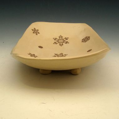 Custom Made Large Ceramic Bowl With Snowflakes In Cream And Red